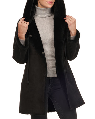 Shearling Fur Stroller Coat w/ Braid Detail