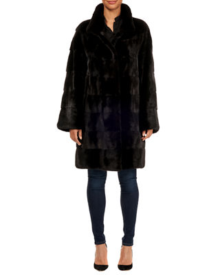 MAURIZIO BRASCHI Horizontal Mink Fur Stroller Coat W/ Leather Belt in Black