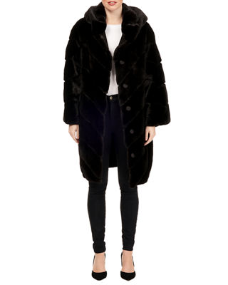 MAURIZIO BRASCHI Hooded Mink Chevron Fur Parka Coat W/ Belt in Black