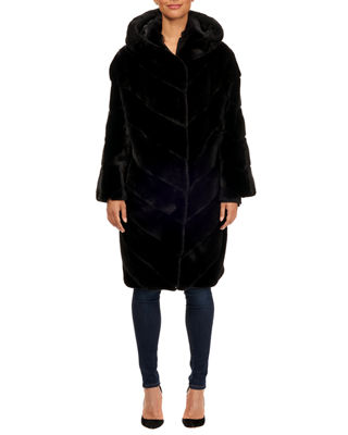 MAURIZIO BRASCHI Hooded Mink Chevron Fur Parka Coat W/ Belt in Dark Blue