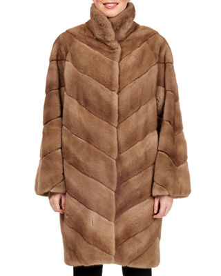 Belted Chevron-Quilted Mink Fur Short Coat in Brown