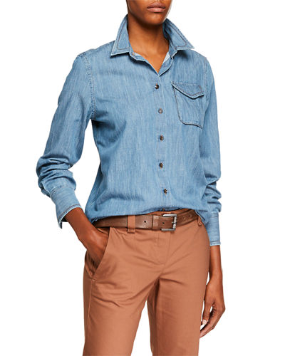 f81b0114f3704 Quick Look. Brunello Cucinelli · Safari-Pocket Denim Button-Front Blouse