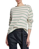 Brunello Cucinelli Striped Wool-Cashmere Crewneck Sweater