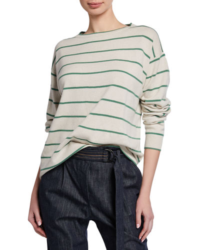 Striped Wool-Cashmere Crewneck Sweater