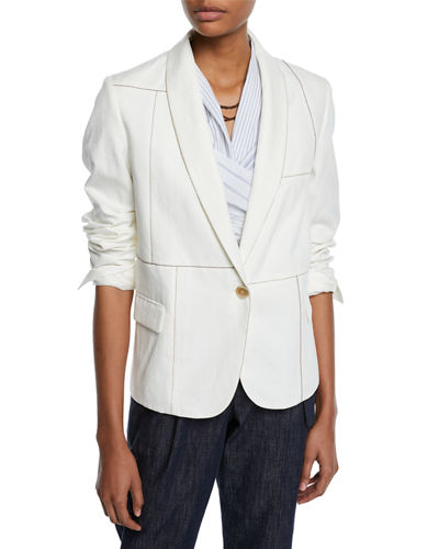 Shawl-Collar One-Button Linen-Cotton Blazer w/ Monili Trim