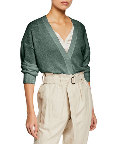 Sequined Linen/Silk Snap-Front Cardigan