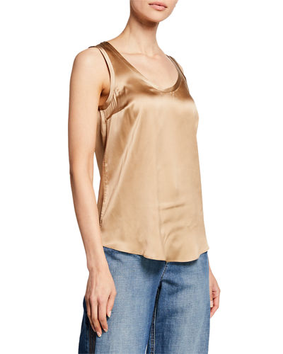 Reversible Silk-Stretch Satin Scoop-Neck Tank Top