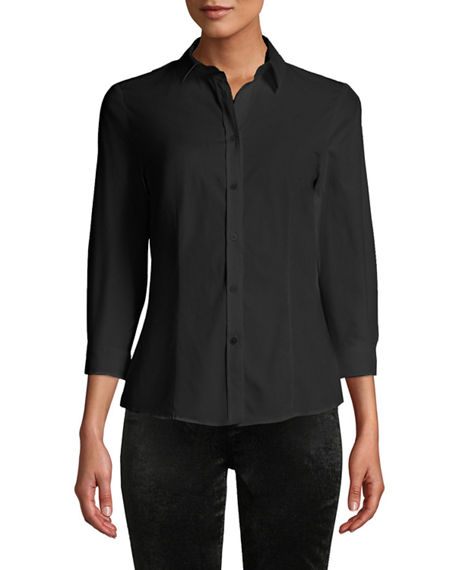 Carolina Herrera CLASSIC COTTON BUTTON-FRONT SHIRT