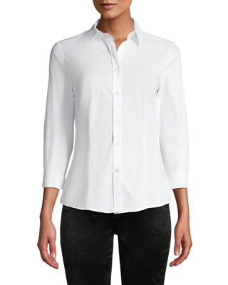 Classic Cotton Button-Front Shirt in White