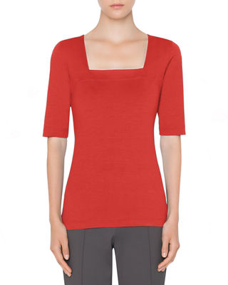 1/2-Sleeve Square-Neck Tee in Rosso Forte