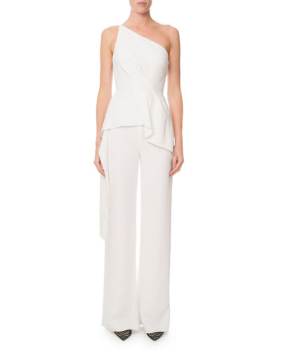 Charlesworth One-Shoulder Draped Peplum Jumpsuit