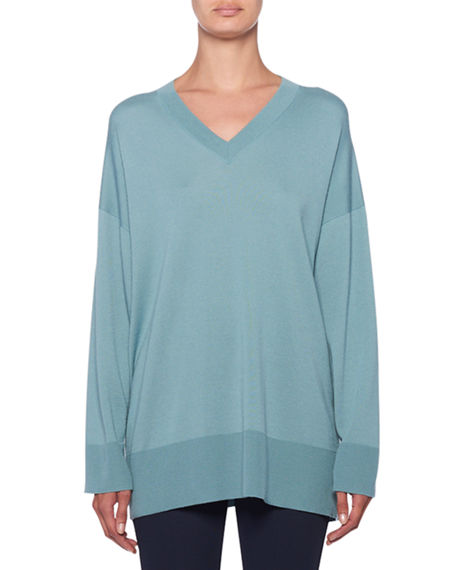 086245884fd4f The Row Maley V-Neck Long-Sleeve Cashmere-Blend Sweater In Blue