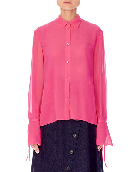 Carolina Herrera TIE-SLEEVE SILK BUTTON-FRONT BLOUSE
