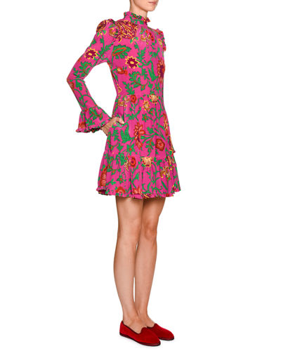 Double J Visconti Ruched Floral-Silk Mock-Neck Dress