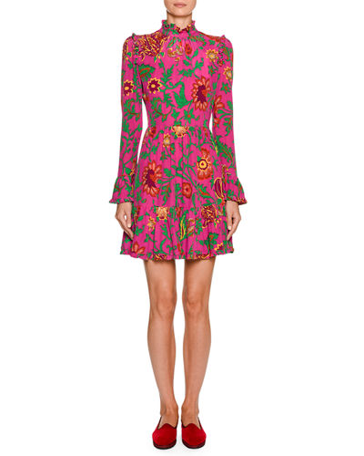 Visconti Ruched Floral-Silk Mock-Neck Dress