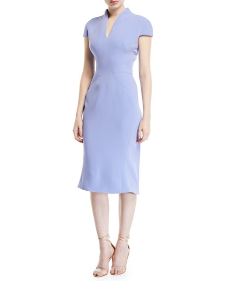 Zac Posen FUNNEL NECK CREPE CAP-SLEEVE DRESS