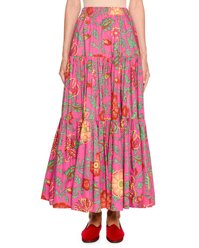 Floral Print Tiered Cotton Maxi Skirt