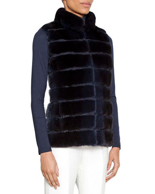 NORMAN AMBROSE Horizontal Quilted Mink Fur Vest in Navy