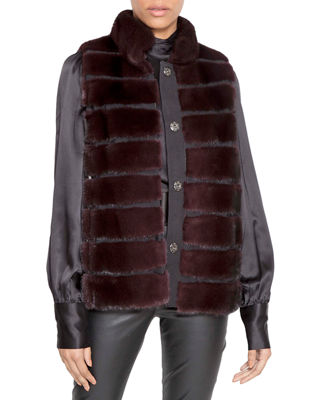 NORMAN AMBROSE Horizontal Quilted Mink Fur Vest in Purple