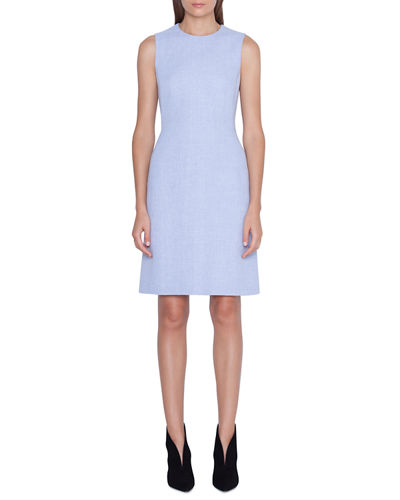 Sleeveless Linen-Wool Sheath Dress