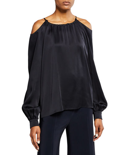 Long-Sleeve Cutout Shoulder Top