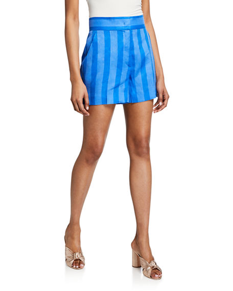 Escada Sport Shorts SHADOW-STRIPED LINEN SHORTS