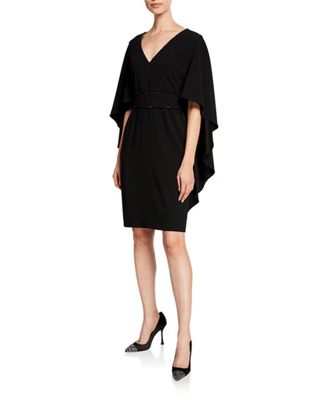Escada Beaded Capelet V-Neck Dress