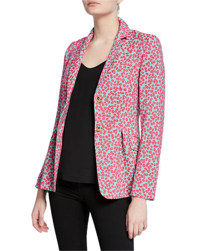 Mini Daisy Jacquard Notched Jacket