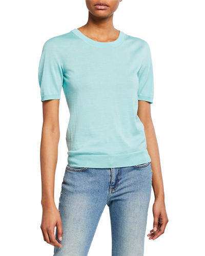 Short-Sleeve Jewel Neck Pullover