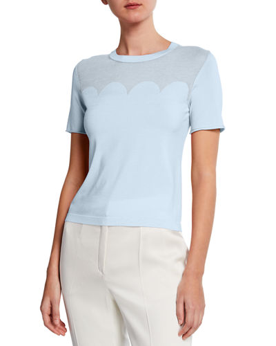Short-Sleeve Scalloped Illusion Top