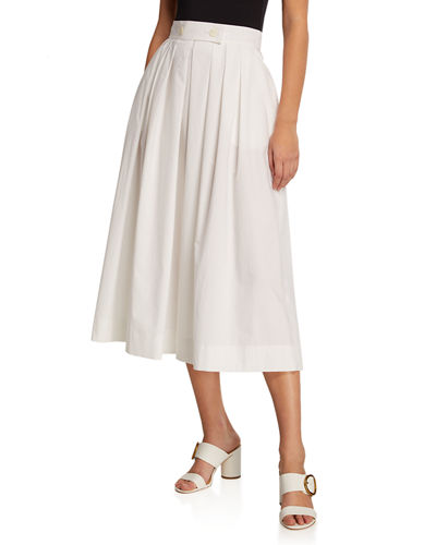 Tabbed-Front Full Pleated Skirt with Pockets