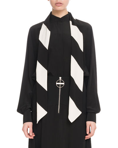 Long-Sleeve Button-Front Silk Blouse with Striped Detachable Scarf