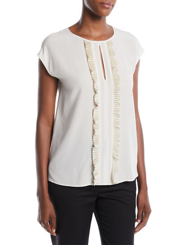 Pleated Detail Round-Neck Silk Shell Blouse