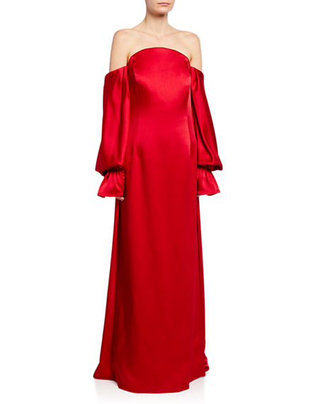 Carolina Herrera Tops OFF-THE-SHOULDER BALLOON-SLEEVE TRAIN-BACK GOWN