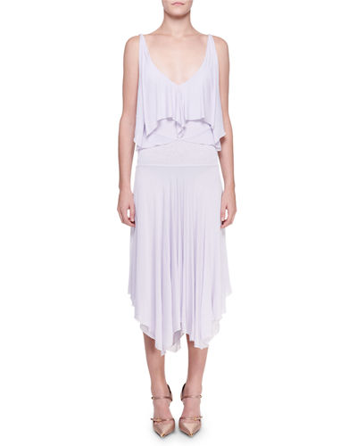 Sleeveless Tiered Jersey Handkerchief Dress