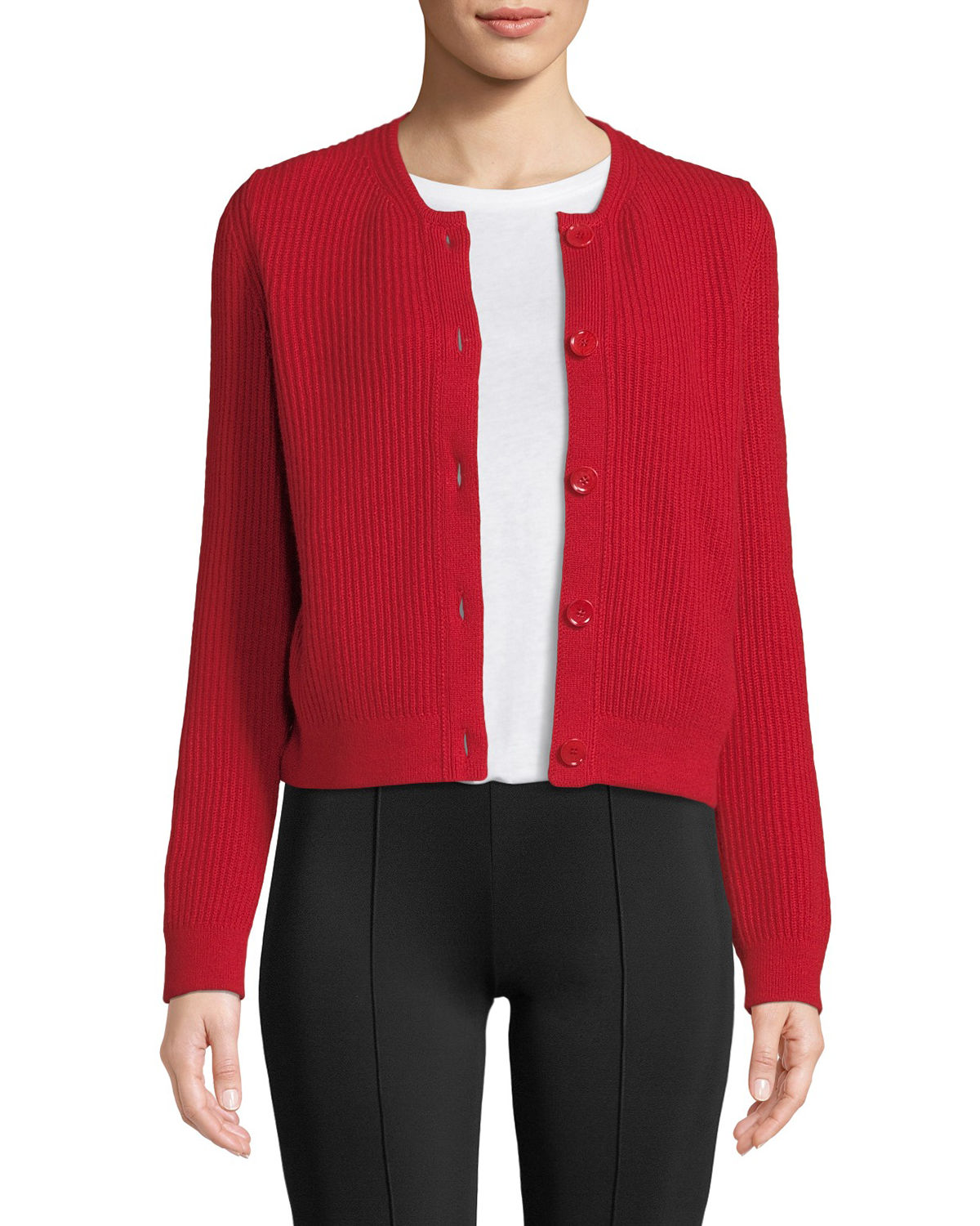5dee09f651 THE ROW Loulou Button-Down Cropped Cashmere Cardigan