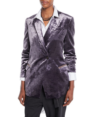One-Button Velvet Blazer w/ Monili Pockets