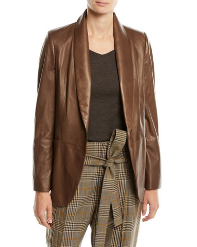 e46878f31 Quick Look. Brunello Cucinelli · Shawl-Collar One-Button Leather Blazer ...