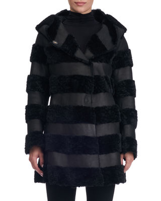 Hooded Leather Jacket With Fur Stripes in Black