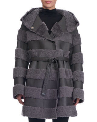 Hooded Leather Jacket With Fur Stripes in Gray
