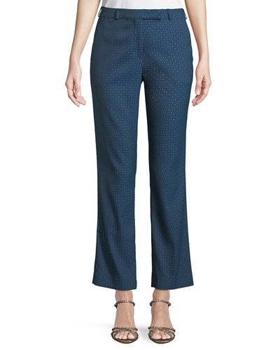 Tab-Front Straight-Leg Cropped Jacquard Pants