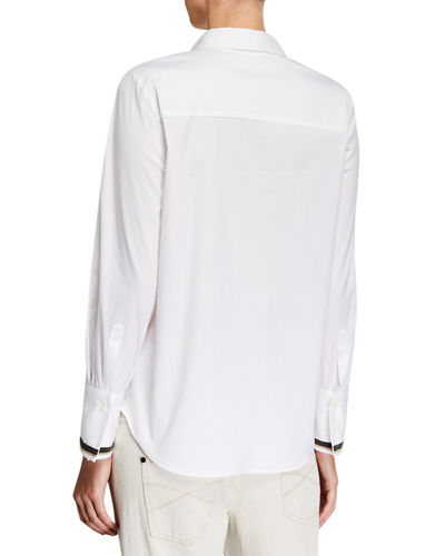 Brunello Cucinelli Regular Fit Poplin Shirt with Monili Cuffs