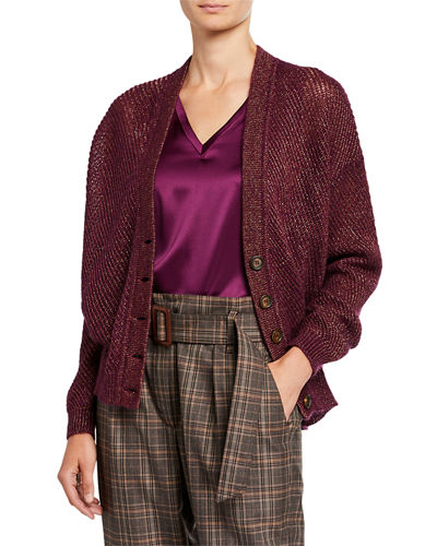 Shiny Button-Front Cardigan