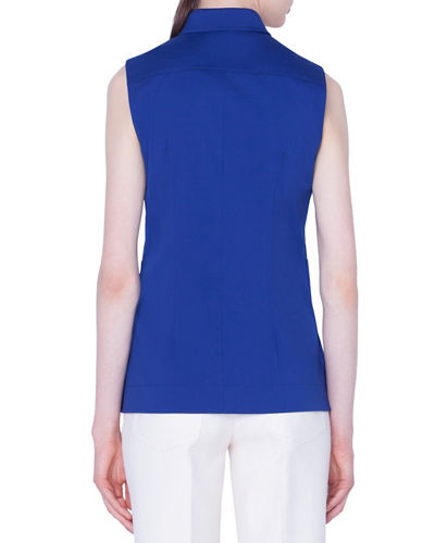 Akris Sleeveless Zip-Front Peplum Shirt