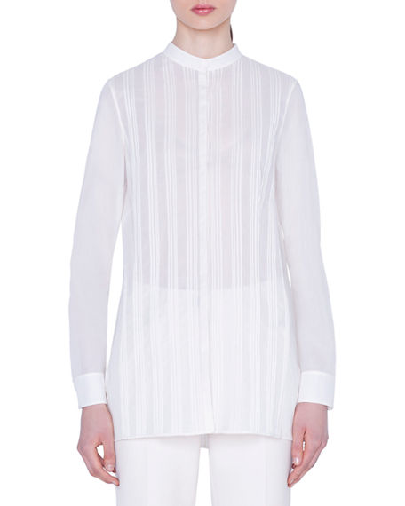 Akris Pleated-Front Voile Blouse