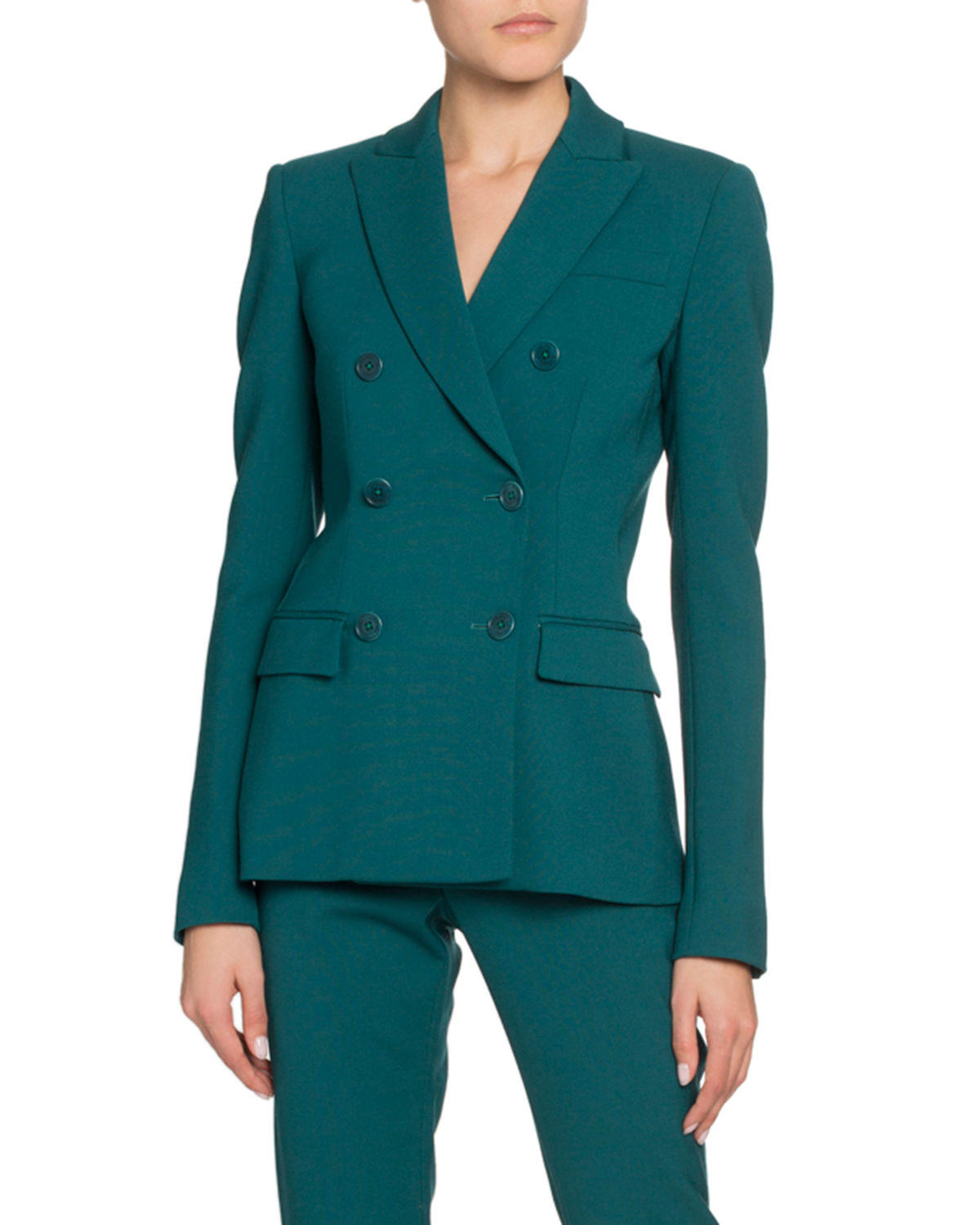 Double-Breasted Stretch Wool Blazer
