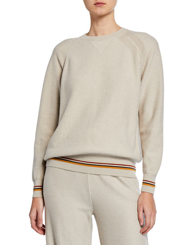 Cashmere Crewneck Suitcase-Striped Sweater