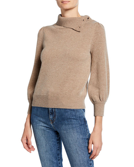 Co Cashmere Convertible Poet-Sleeve Sweater
