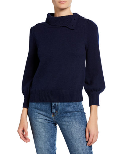 Cashmere Convertible Poet-Sleeve Sweater
