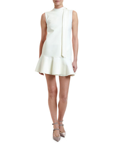 Crepe Cocktail Flounce-Hem Mini Dress